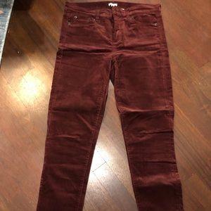 JCrew stretch corduroy plum/merlot skinny jeans